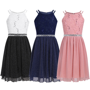 Image 2 - iEFiEL Cute Flower Girls Dress Sleeveless Sequined Floral Lace Shiny Dress Children Kids First Communion Party Summer Dresses