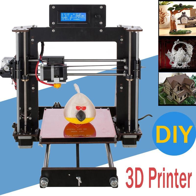 DIY I3 3D Imprimante 200*200*180mm Taille D'impression Soutien Hors-ligne D'impression 1.75mm 0.4mm De Haute Précision Buse LCD Écran