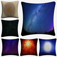 Radiance Light Stars Shine Universe Decorative Cotton Linen Cushion Cover 45x45 cm For Sofa Chair Pillowcase Home Decor Almofada цены