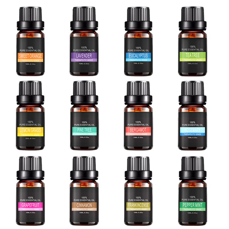 12pcs 100% Pure Natural Essential Oil Aromatherapy Diffusers Hair Growth Skin Foot Care Essence Liquid SPA Massage Necklace