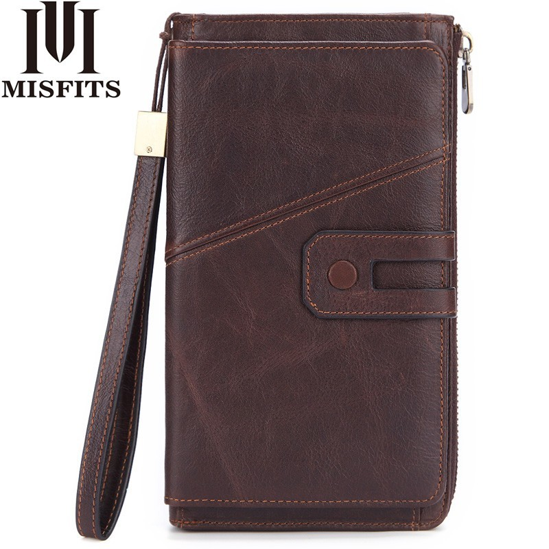 MISFITS Men Wallet Clutch Genuine Leather Brand Male Clutch Bag Zipper Organizer Long Coin Purse Passport Holder Cell Phone Case