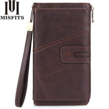 MISFITS Men Wallet Clutch Genuine Leather Brand Male Clutch Bag Zipper Organizer Long Coin Purse Passport Holder Cell Phone Case цена