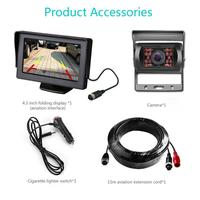 4.3 LCD Car Rear View Monitor Kit For Truck Bus RV 18 IR LED Night Vision Rearview Reverse Camera