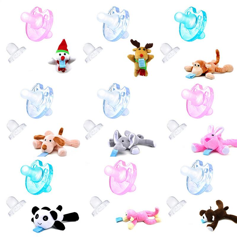 Silica gel Super Soft Notch Without Nose Blocking Infant Pacifier Nipple 0-12 Months to Pacify Newborn Nipple Pacifier Holder