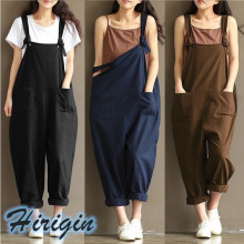 Summer Dungarees Casual Women Strap Sleeveless Loose Overalls Solid Plus Size Jumpsuit