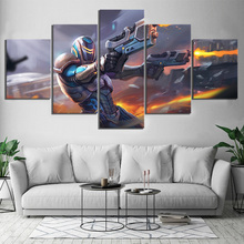 5 Piece Pladins Game Robot Double Gun Shooting Canvas Printed Wall Pictures Home Decor For Living Room Poster Wholesale
