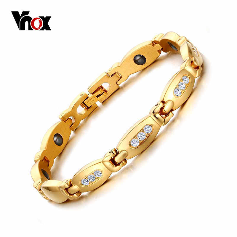 Vnox Women Hematite Magnetic Bracelet Gold-color Stainless Steel Chain With Zircon Stone free box
