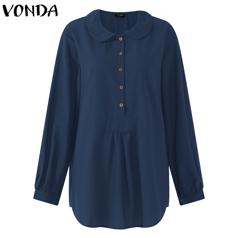 VONDA Women Blouses Shirts 2019 Autumn Pregnant Casual Loose Lapel Long Sleeves Buttons Solid Maternity Blusas Tops Plus Size