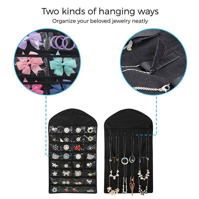Шкаф подвесной органайзер для ювелирных изделий Цепочки и Ожерелья хранения держатель путешествия Дисплей чехол сумка (черный)