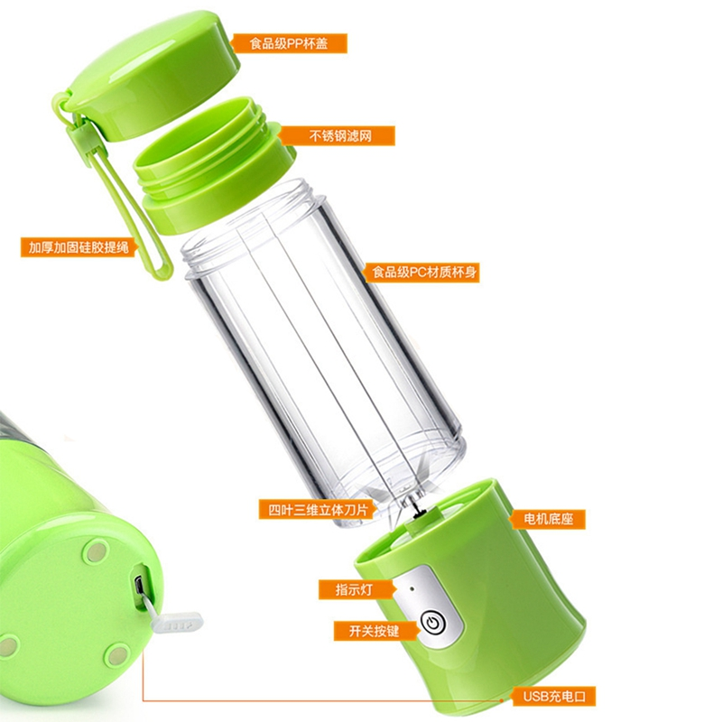 NEW-Portable Mini Travel Fruit USB Juicer Cup, Personal Small Electric Juice Mixer Blender Machine With 4000mah Rechargeable B