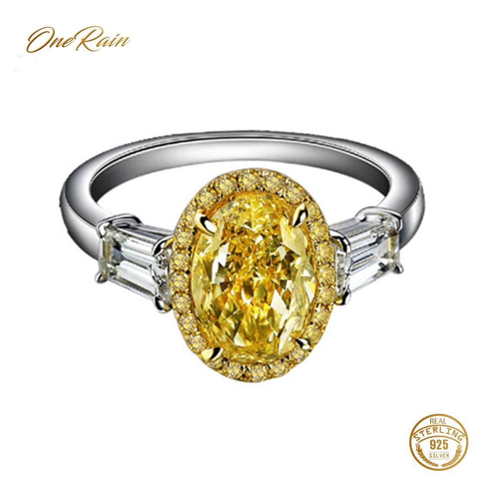 OneRain 100% 925 Sterling Silver Oval Citrine Gemstone Birthstone Wedding Engagement Cocktail For Women Ring Jewelry Wholesale