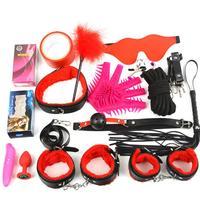 17pcs/Set Adult Sex Toys For Women Couple SM Kit Plush Leather Whip Feather Stick Womanizer