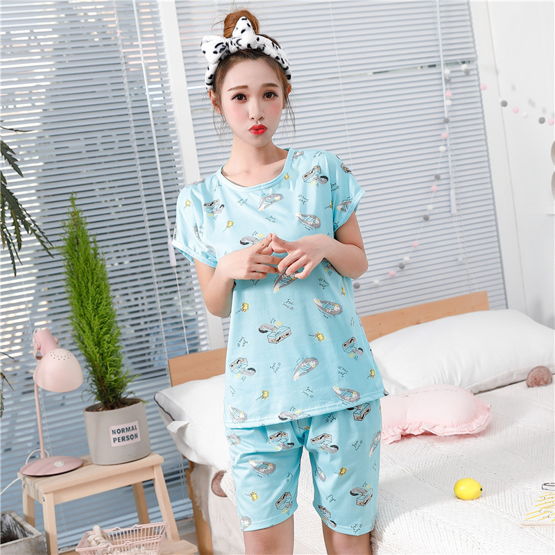 2019   Pajamas     Set   For Women Girls Summer Pyjamas Suit Short Sleeve Pullover Tops Loose Shorts Cute Cartoon Female Sleepwear