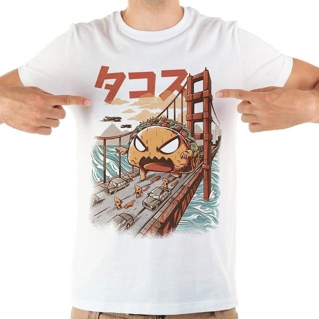 Japan anime savage Taco funny tshirt men JOLLYPEACH BRAND 2019 new white short sleeve casual homme cool kaiju t shirt