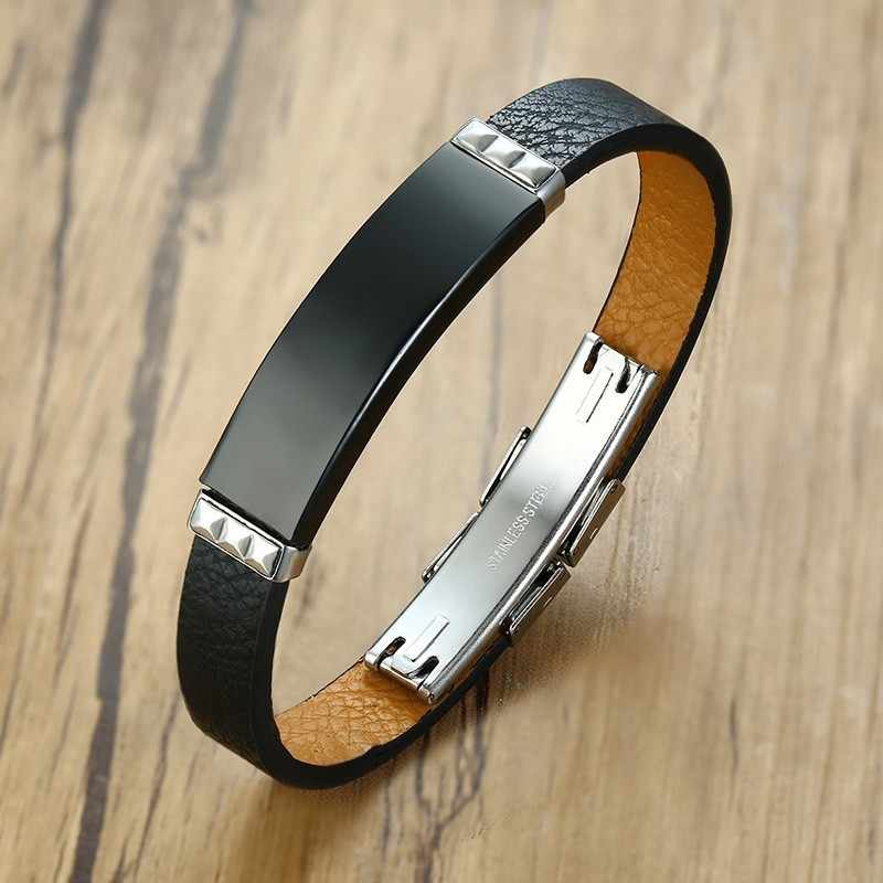 Vantage Men's Black Leather Bracelet Bangle DIY Adjustable Male Wristband Pulseira Gifts