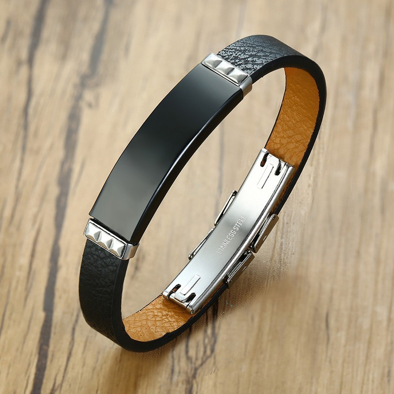 Vantage Men 39 s Black Leather Bracelet Bangle DIY Adjustable Male Wristband Pulseira Gifts in ID Bracelets from Jewelry amp Accessories