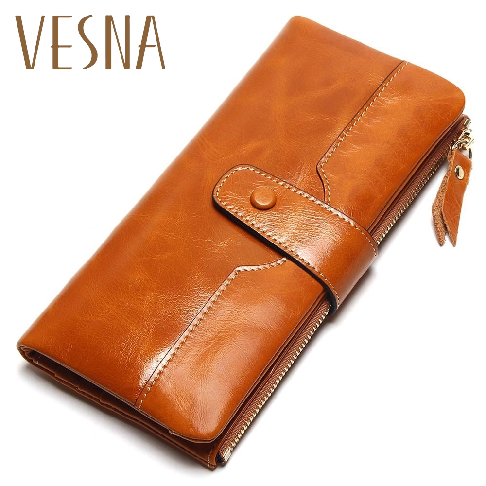 Vesna TAUREN 100% Genuine Leather Women Phone Wallet Long Purse Lady Oil Wax Cowhide Multiple Cards Holder Clutch Fashion