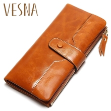 Vesna TAUREN 100% Genuine Leather Women Phone Wallet Long Purse Lady Oil Wax Cowhide Multiple Cards Holder Clutch Fashion Wallet цена в Москве и Питере