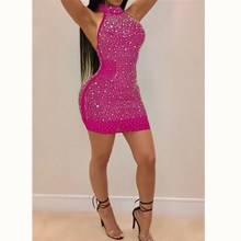 Sexy Women Lady Bling Backless Bandage Bodycon Evening Party Club Short Mini Dress Plus Size S-3XL