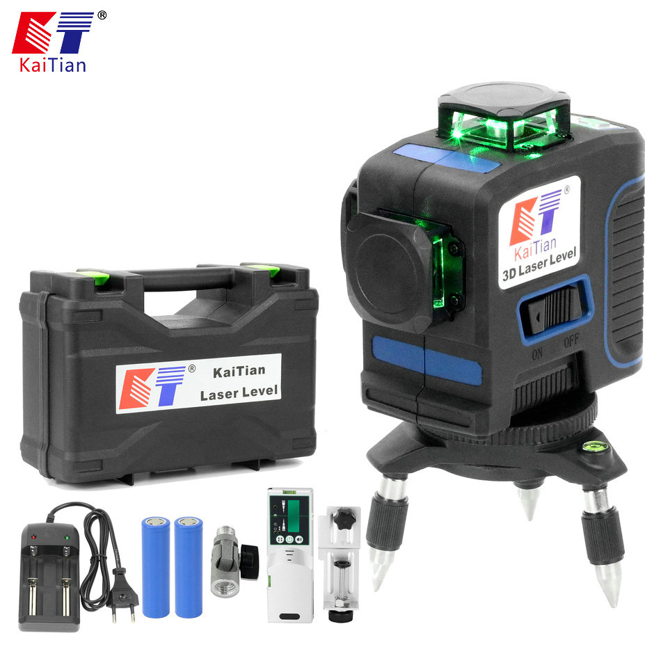 Kaitian 12 Lines Green 3D Laser Level Receiver Self-Leveling Cross Vertical Horizontal 360 Rotary Nivel Level Lasers Line ToolKaitian 12 Lines Green 3D Laser Level Receiver Self-Leveling Cross Vertical Horizontal 360 Rotary Nivel Level Lasers Line Tool