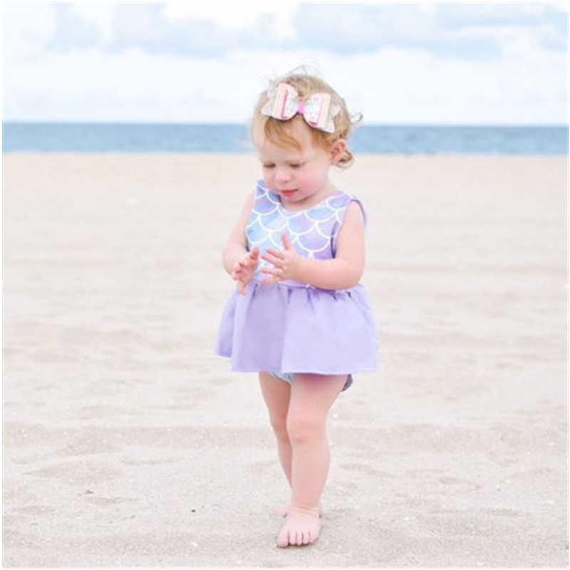 Yaz Yenidoğan Kız Giysileri Setleri Kolsuz Prenses Elbise Tops + Şort 2 Adet Mermaid Toddler Küçük Çocuklar Plaj dış giyim