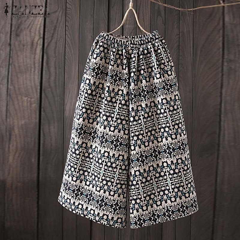 2019 ZANZEA Women Floral Printed   Wide     Leg     Pants   Casual Elastic Waist Pantalon Loose Cotton Linen Harem Trousers Plus Size