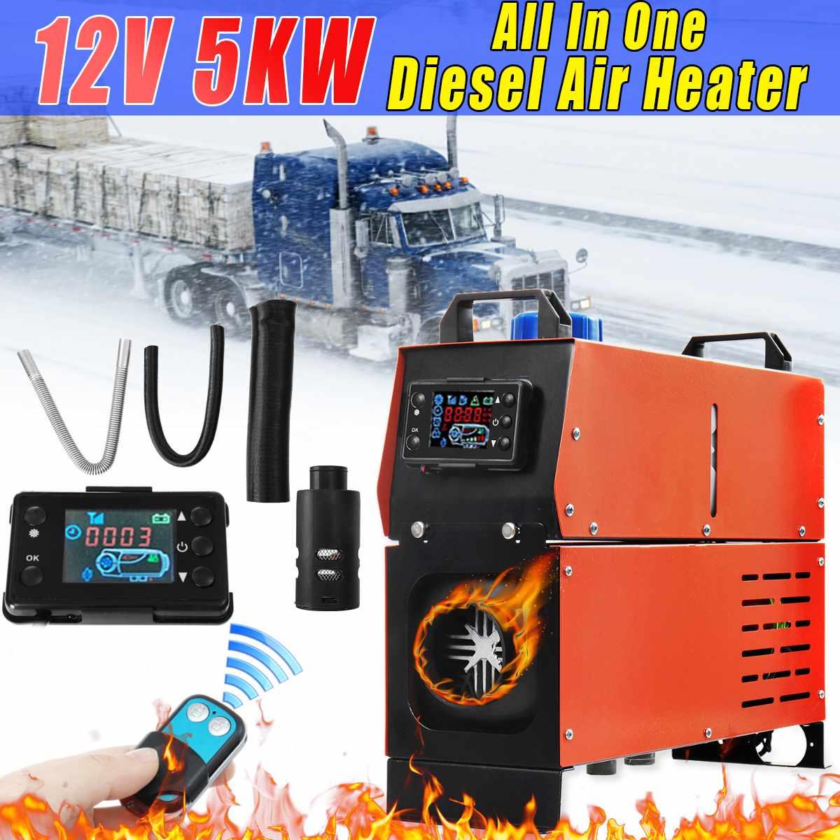 Réchauffeur d'air Diesel 12 V 5000 W 1/4 trous simple réservoir télécommande Thermostat caravane camping-Car RV LCD moniteur pour camions voiture bateau