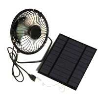 NEW-2.5W 5V Solar Powered Panel Iron Fan For Home Office Outdoor Traveling Fishing 4 Inch Cooling Ventilation Fan Usb New