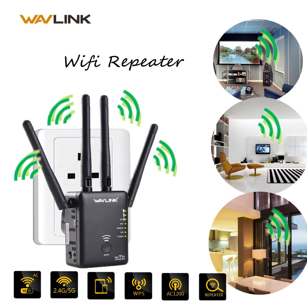 1200Mbps 2.4G&5G Wireless WiFi Repeater for AP/Router 802.11 2X LAN Extender Booster Networking Routers(China)