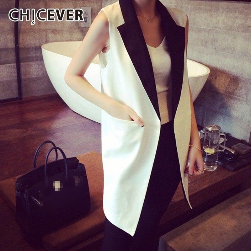 CHICEVER 2019 Autumn Waistcoat For Women Vest V Neck Sleeveless Patchwork Hit Color Jacket Female Gilet