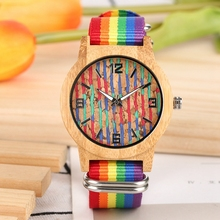 Top Gifts Color Printing Striped Dial Men Wood Bamboo Watch Unisex Luminous Hands Clock Female Unique Nylon Wrist Mens Watches fresh green beige nylon dial women s novel bamboo analog watch minimalism wood female genuine leather clock reloj de madera 2017