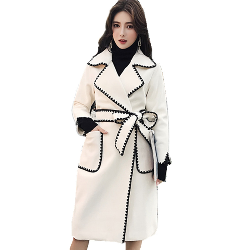 Hot Women OL Cashmere Wool Blend Coat Over Knee Length Long Trench Parka Outwear