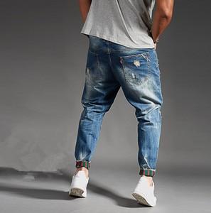 Image 3 - Ripped Jeans For Men Blue Black Denim Mens Jean Homme Harem Hip Hop Plus Size Trousers 44 46 48 Mens Uomo Fashions Jogger Pants