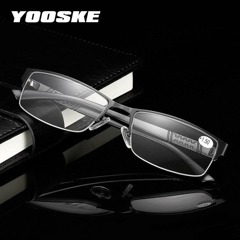 b06d98d979 YOOSKE de negocios de moda de gafas de lectura de los hombres de Metal,  Marco medio de gafas para el lector hombre gafas dioptrías 1,0, 1,5, 2,0,  2,5, ...
