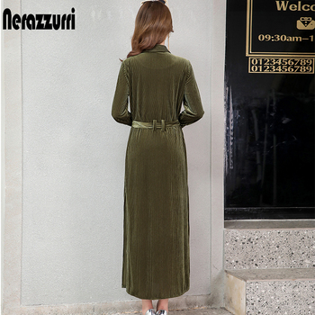 Nerazzurri long velvet dress women long sleeve with belt button striped maxi shirt dress 2019 fall warm runway plus size dress 2