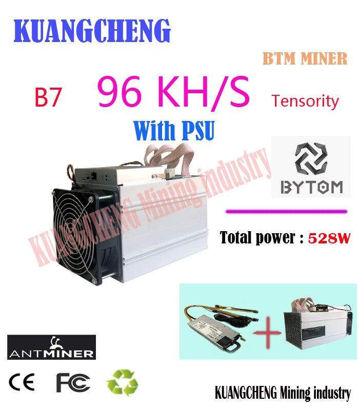 Nouveau BTM mineur Antminer B7 96KH/s 528 W avec 750 W PSU Asic Tensority Miner Mine BTM mieux que Antminer S9 S11 S15 A9 Z9 A9 M10