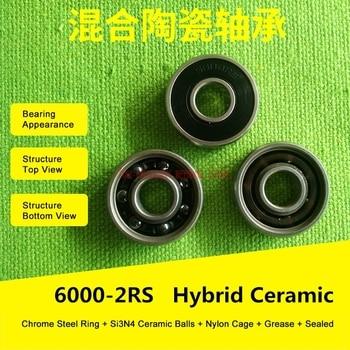 6000 rodamiento de cerámica híbrido 10x26x8 Mm Abec-7 (1 uds) Rodamientos inferiores de bicicleta y punteros 6000rs Si3n4 Rodamientos