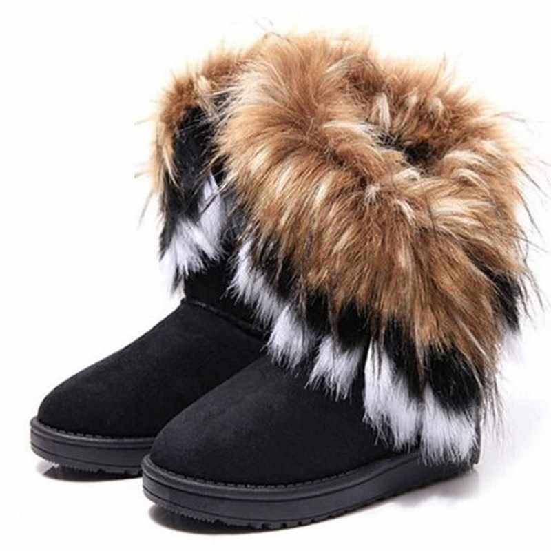 Fur Boots Winter Warm Ankle Boots For Women Snow Shoes 2018 New Style Round-toe Slip On Female Flock Snow Boot Ladies Shoes