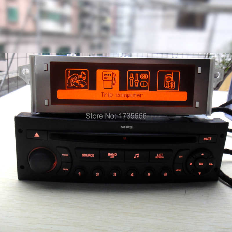 Original rojo monitor + RD45 radio de coche reproductor de CD compatible con Bluetooth USB AUX MP3 para Citroen C3 C4 C5 para peugeot 207, 206, 307, 308