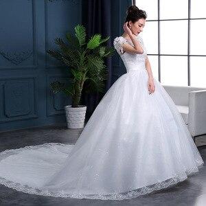 Image 2 - Дешевые 2020 новые модные роскошные свадебные платья с длинными рукавами 2020 с кружевными бусинами модное свадебное платье Vestidos De Noiva