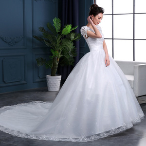 Cheap 2020 New Fashion Luxury High-end sleeved Wedding Dresses 2020 With lace Beads Fashion Bridal Gown Vestidos De Noiva