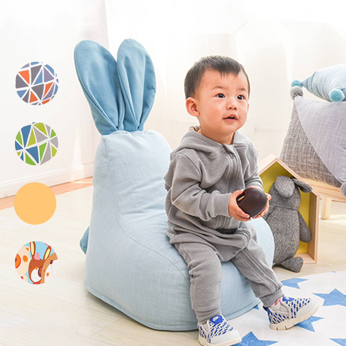With Filler Nordic Baby Bean Bag Chair Pouf Kids Sofa Baby Seat Pillow Portable Chairs for Baby Infant Room Decor Child's toys