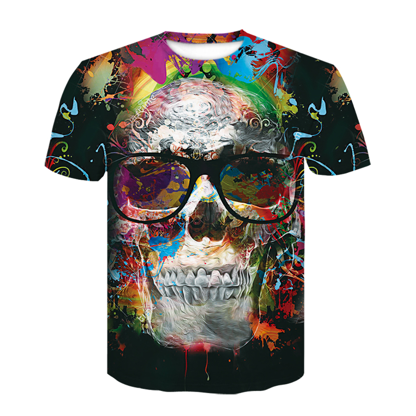 2019 New Mens Summer Skull  Print Men Short Sleeve T-shirt 3D T Shirt Casual Breathable T-shirt Plus-size T-shirt Free shipping