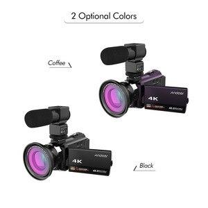Image 2 - Andoer 4K Camcord 1080P 48MP WiFi Digital Video Kamera mit 0.39X Weitwinkel Makro Objektiv + Mikrofon + LED Video Licht + Kamera Tasche