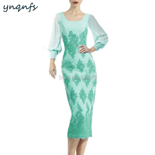 YNQNFS M144 Square Neck Long Sleeves Sheath Tea Length Turquoise Mother of Bride Lace Dresses for