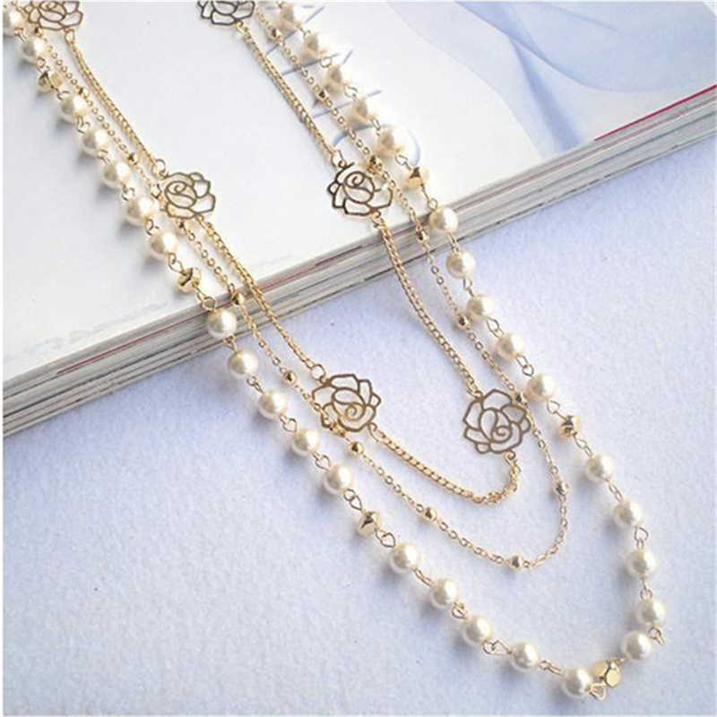 2019 Hot Fashion Multilayer Necklace Rose Copper Beads Chain Long Statement Beaded Strand Necklaces Women Sweater Chain Jewelry