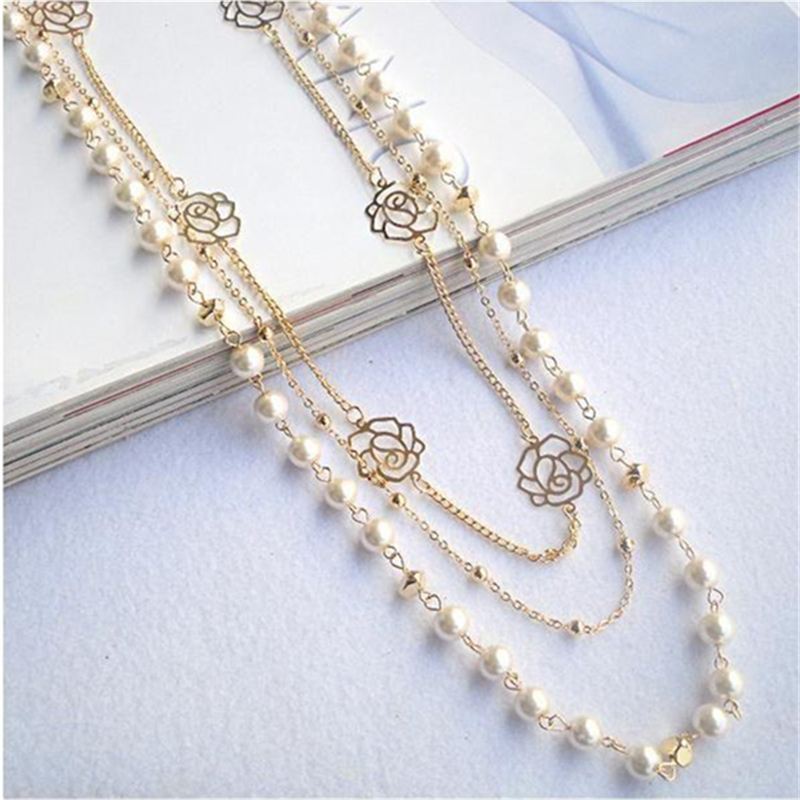 2019 Hot Fashion Multilayer Necklaces Rose Copper Beads Chain Long Statement Beaded Pearl Necklace Women Sweater Chain Jewelry(China)