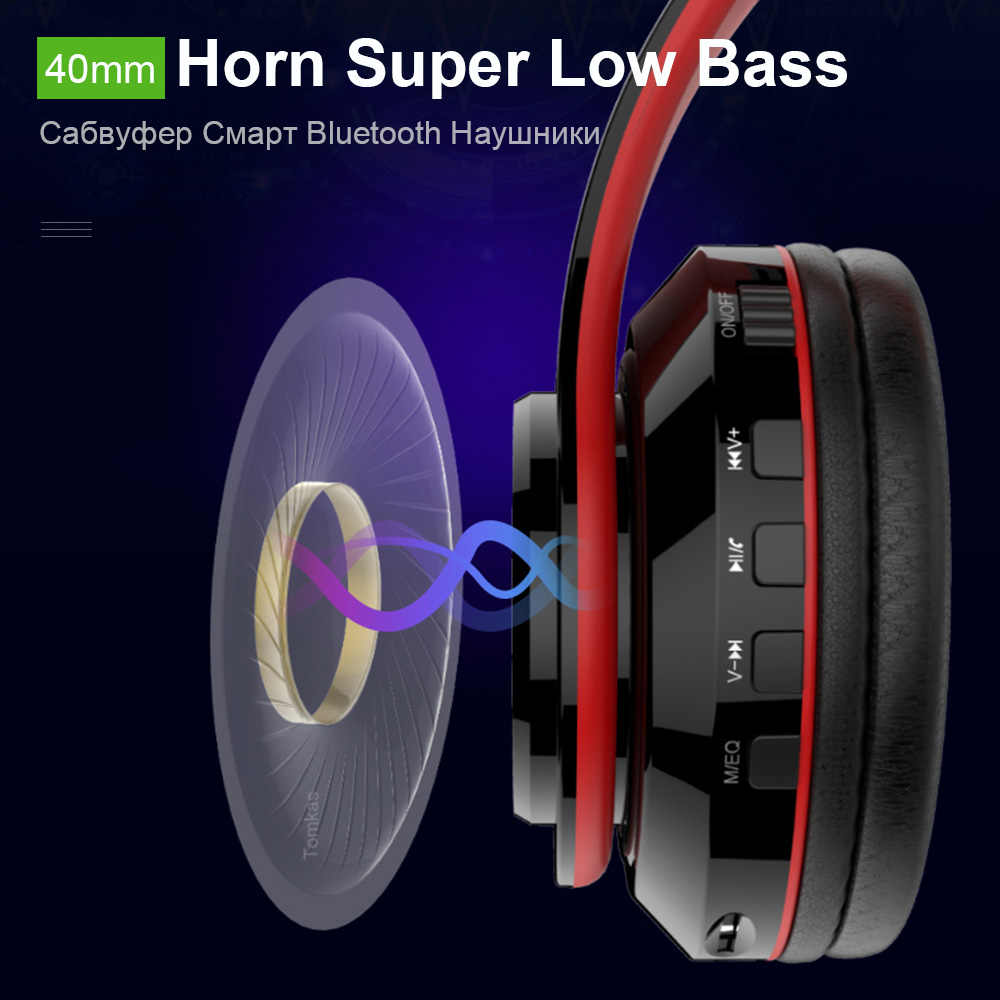 TOMKAS słuchawki Bluetooth bezprzewodowe słuchawki stereo składane słuchawki regulowane słuchawki douszne z mikrofonem/kartą TF z mikrofonem