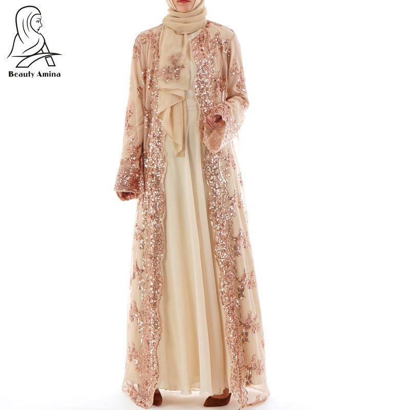 Julyee Sequin Embroidery Abaya Cardigan Robe Lace Plain kaftans Long Sleeve maxi long kimono Muslim dress women Turkish clothes 貓 帳篷