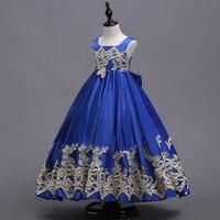 Children Kid Girls Satin Back Bowknot Dress Flower Girls Long Ball Gown Princess Pageant Birthday Party Summer Prom Formal Dress